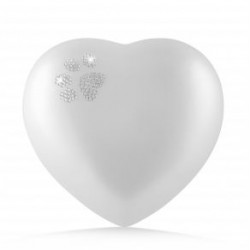 Urne animaux edition crystal - coeur Couleur: Blanc